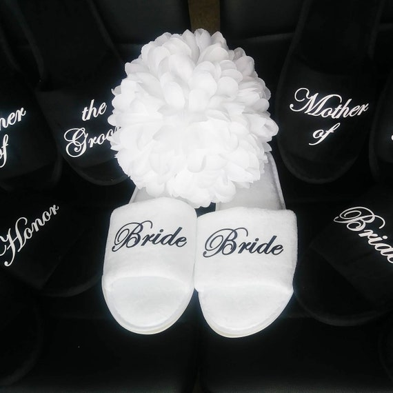 Slippers - Black Bridesmaid Slippers - Bridal Party Gifts - Bridesmaid Slippers - Bridesmaids - Black Slippers - Personalized Slippers