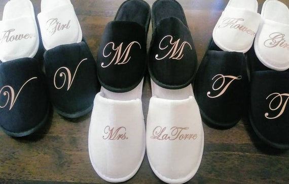 Personalized Slippers- Monogrammed Slippers - Bridesmaid Gift - Slippers - Black Slippers -Rose Gold Available- Wedding Party Gifts