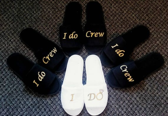 Bridesmaids Gifts - Bridesmaid Slippers - Bride Slippers - Slippers - Slippers - Custom Slippers - I do crew - Wedding Party Gifts
