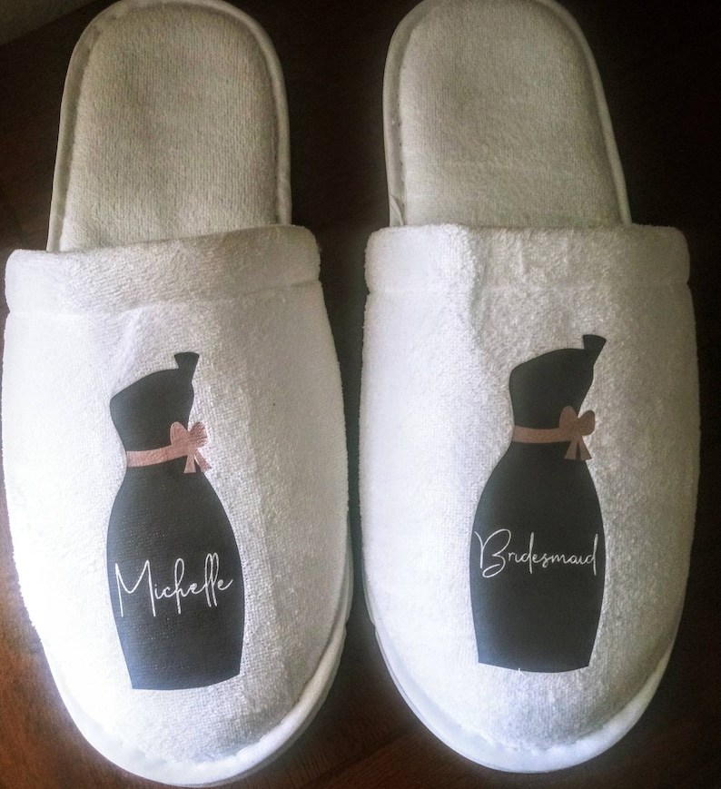 5ba34192818fe Personalized Slippers- Monogrammed Slippers - Custom Slippers - Bridesmaid  Gift - Slippers - Girls Trip Gift - with Bridesmaid Initials