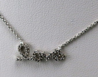 Sterling silver cz love necklace