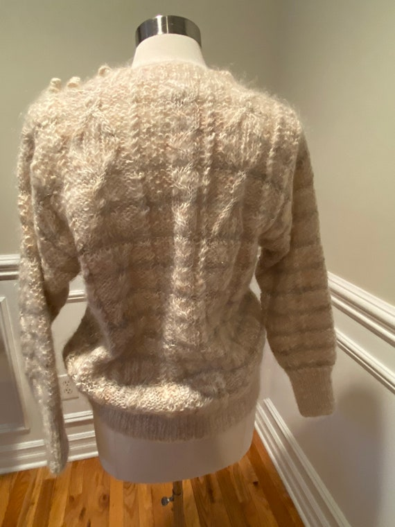 Vintage hand knit mohair cardigan Deep V button up sweater Minimalist Slouchy cardi Double breasted Drop shoulder