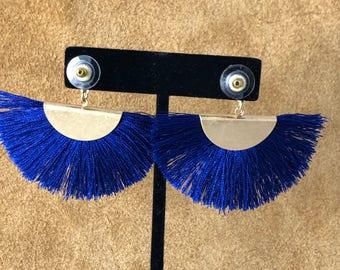 Colbalt blue fringe earrings