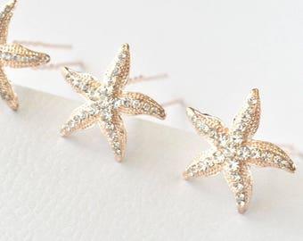 gold or silver crystal starfish hair pins Choose rose gold 2 starfish bobby pins Beach wedding hair pins