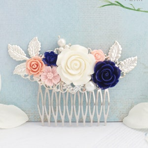 elegant Choose silver dainty leaves Vintage style gold or rose gold flower hairpiece with blush pink and white flowers