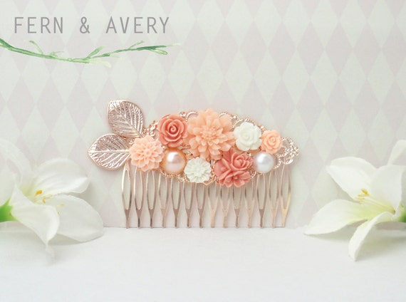 gold and white hair comb Coral pink Coral pink white and gold flower comb.