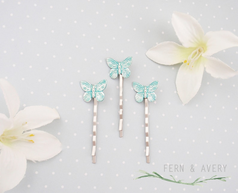 Butterfly bobby pins Choose turquoise or silver butterfly hair pins Dainty Butterfly hair clip Elegant butterfly hair clip.