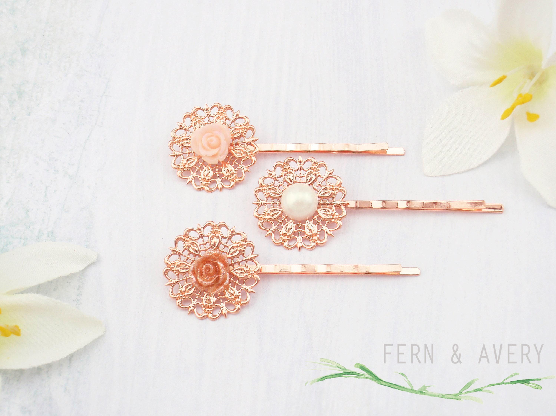 Blush Pink Hair Flower Or Brooch Bridal Wedding: Rose Gold Blush Pink Ivory Flower Hair Pins. Blush Pink