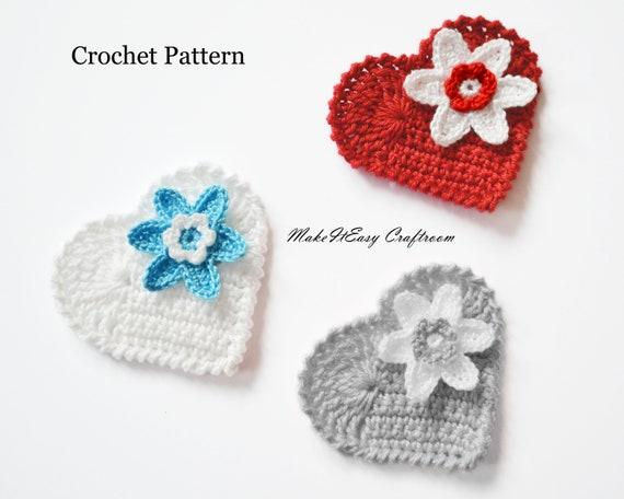 Heart Applique Crochet Pattern Crocheted Heart With Flower Etsy