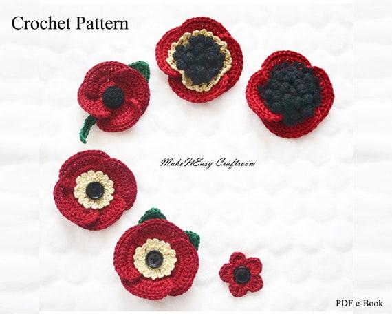 Poppy Flower Brooch Crochet Pattern Decorative Red
