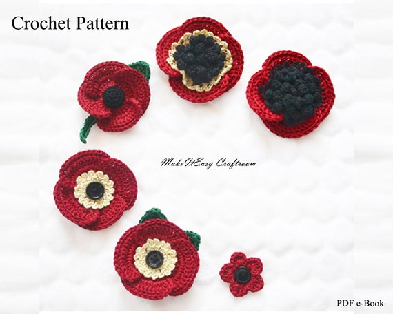 Poppy Flower Brooch Crochet Pattern Crochet Decorative Red Etsy