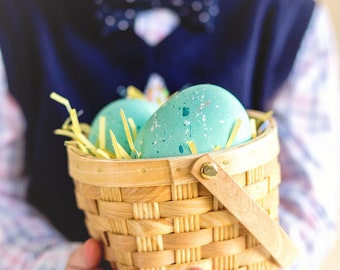 Easter basket, boy stock photo