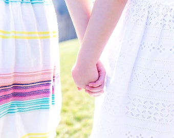 Stock Photography Children Holding Hands, Spring Colors