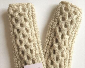 Handwarmers - Honeycomb Stitch | Aran Hand Knit Accessory | Modern Design Aran Accessory | Wool Handwarmers | Winter Accessories