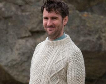 The Genuine Irish Hand Knit Aran Sweater | Irish Aran Fisherman's Sweater | An Iconic Fashion Item | Unisex Aran Jumper | Wool Sweater