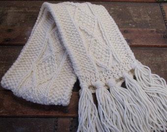 Kids Aran Hand Knit Scarf | Children's Wool Scarf | Kids Traditional Aran Scarf | Pure Wool Kids Scarf | Winter scarf for kids | Irish Made