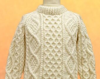 Children's Hand Knit Aran Sweater | Kids Irish Aran Sweater | Kids Fisherman Sweater | Irish Kids Wool Sweater | Childrens Wool Jumper