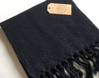 Tweed Scarf Dark Blue - Handwoven Woolen Scarf | Donegal Tweed Scarf | Handwoven Loom Scarf | Genuine Donegal Tweed Scarf