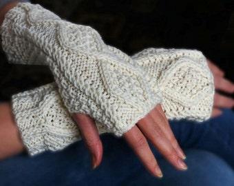 Aran Hand Knit Hand Warmers (variety of Colours) | Aran Accessory | Modern Design Aran Accessory | Wool Handwarmers | Winter Accessories