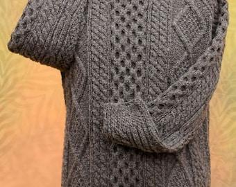Natural Blacksheep Genuine Irish Hand Knit Aran Sweater | Unisex Fisherman's Sweater | Aran Jumper | Natural Blacksheep Wool