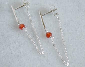 Sterling Silver Bar Crystal Chain Earrings
