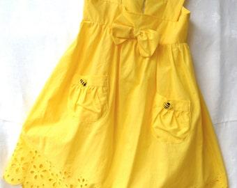 Sunshine Yellow Sundress with Bee Pocket Detail
