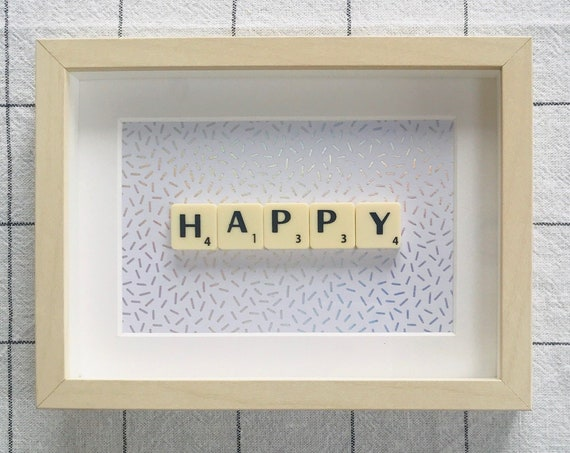 Scrabble Frame Happy