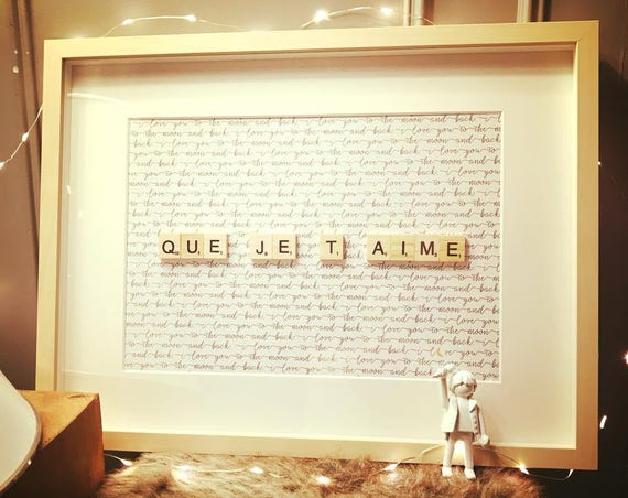 Scrabble Frame Today QUE JE T'AIME