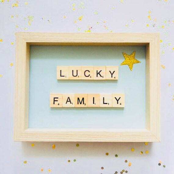 Scrabble Frame Lucky Family