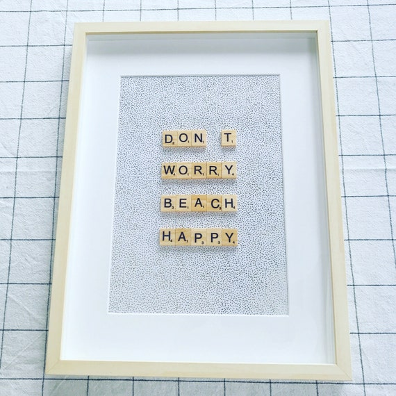 Scrabble Frame Don't worry Beach Happy