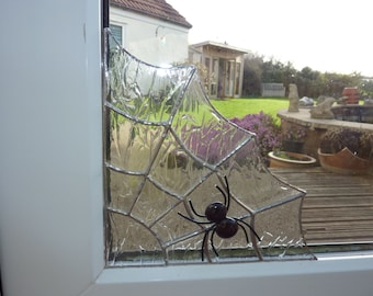 Spider's Web and Spider made from stained glass to fit in the corner of a window