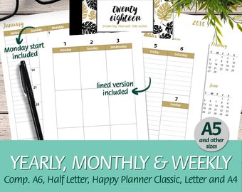 2018 Week on 2 Pages Vertical Boxes A5 size comp. w/ A6, Happy Planner Classic, Half Letter, Letter, A4 - Printable Planner Insert Booklet