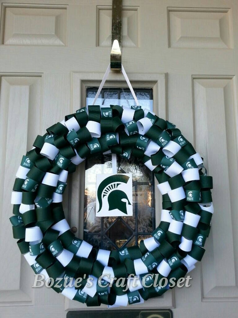 Show your Spartan pride Spartans wreath Michigan Spartans Michigan State wreath College inspired ribbon wreath father/'s day gift