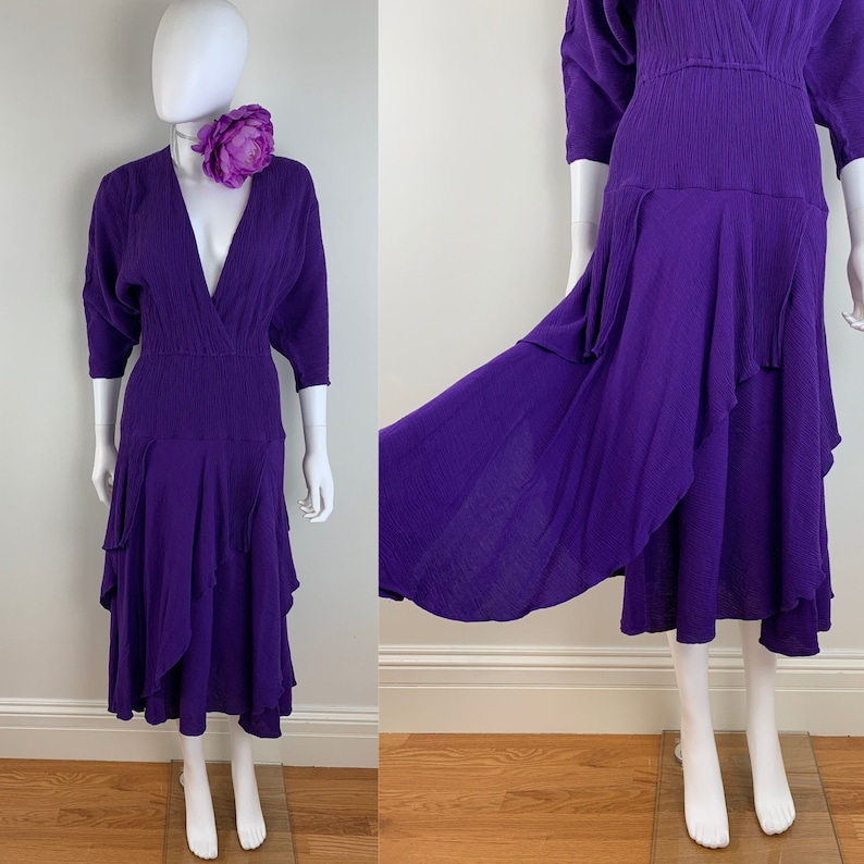 a8a8e246e12 Vintage 1980s PHOEBE Gypsy Boho Purple Tiered Midi Dress Full