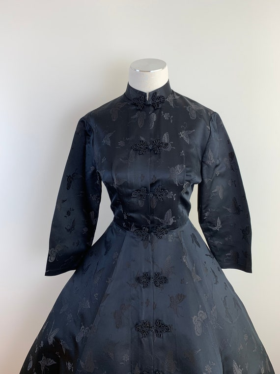 Vintage 50s DYNASTY Black Chinese Silk Princess S… - image 2