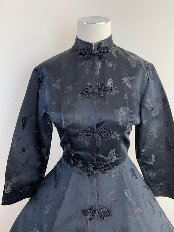 Vintage 50s DYNASTY Black Chinese Silk Princess S… - image 4