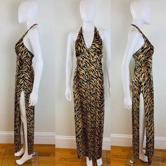 MEOW Vtg 1970s Tiger Stripe Halter Maxi Dress Nigh