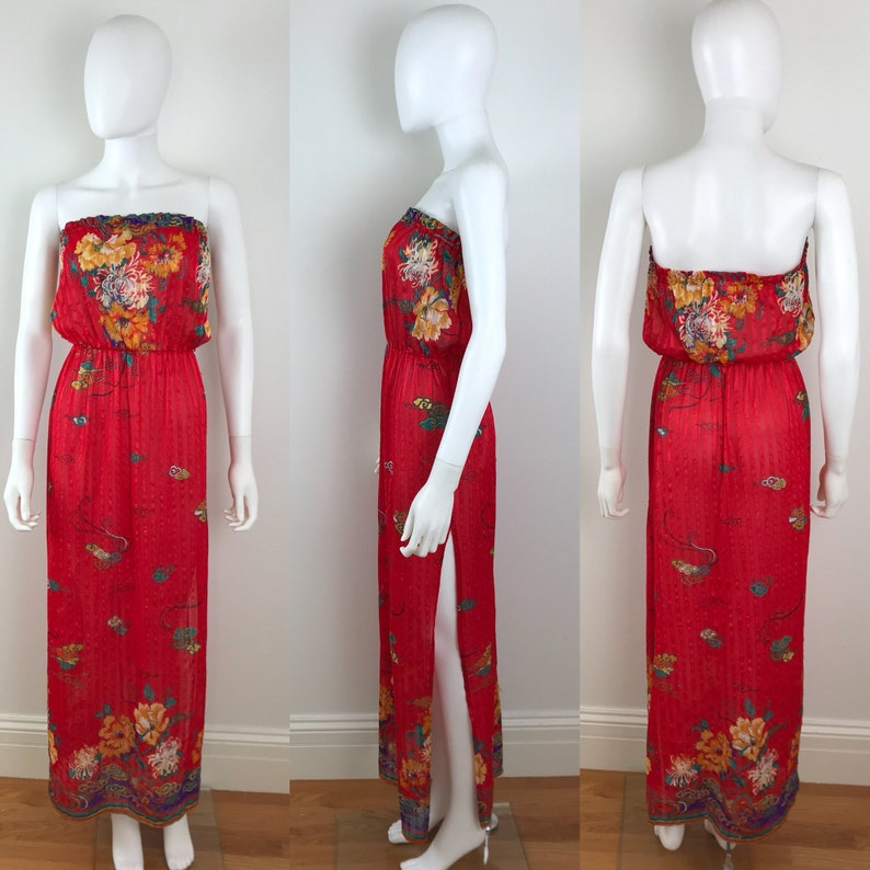 d5a378510c Vintage FREDERICKS of HOLLYWOOD Red Chrysanthemum Floral Maxi
