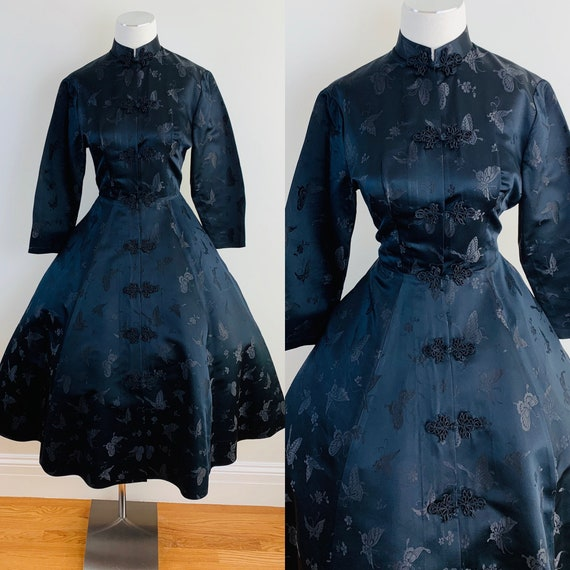Vintage 50s DYNASTY Black Chinese Silk Princess St
