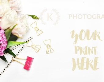 Download Free Styled stock photography | Peonies and gold accessories | white desktop | mockup product PSD Template