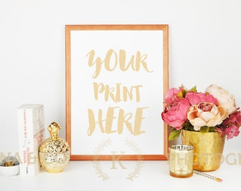 Download Free Styled Stock Photography | Gold accessories | Product Background | Frame mockup | Peonies and gold vase, pencil, book PSD Template