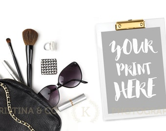 Download Free monochrome fashion mockup   styled stock photography   Cosmetics, Brushes, Earring, ring, silver PSD Template