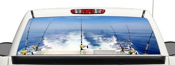 avgrafx Truck Car SUV Fishing Ocean Boat Trolling Window Graphic Decal Perforated Vinyl Wrap 22x66