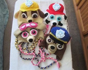 bec1396f6f9 Crocheted Inspired Paw Patrol ---Chase ---Skye--- and  Marshall----Costume----Fall Winter Hat---All Sizes--More Characters Coming  Soon!