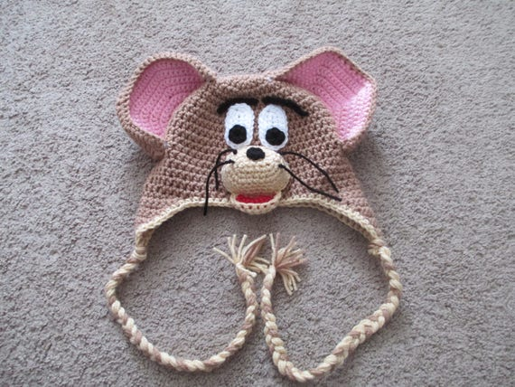 Crochet Mouse Hat---Jerry Mouse Hat---All Sizes