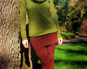Terra Top - Organic Cotton Jersey, Hand Dyed, Cowl Neck, Long Sleeve Top