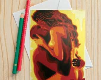 Interracial card etsy erotic couple fine art note card 4x6 fine art card painting notecards notecard greeting card interracial couple art sensual art m4hsunfo