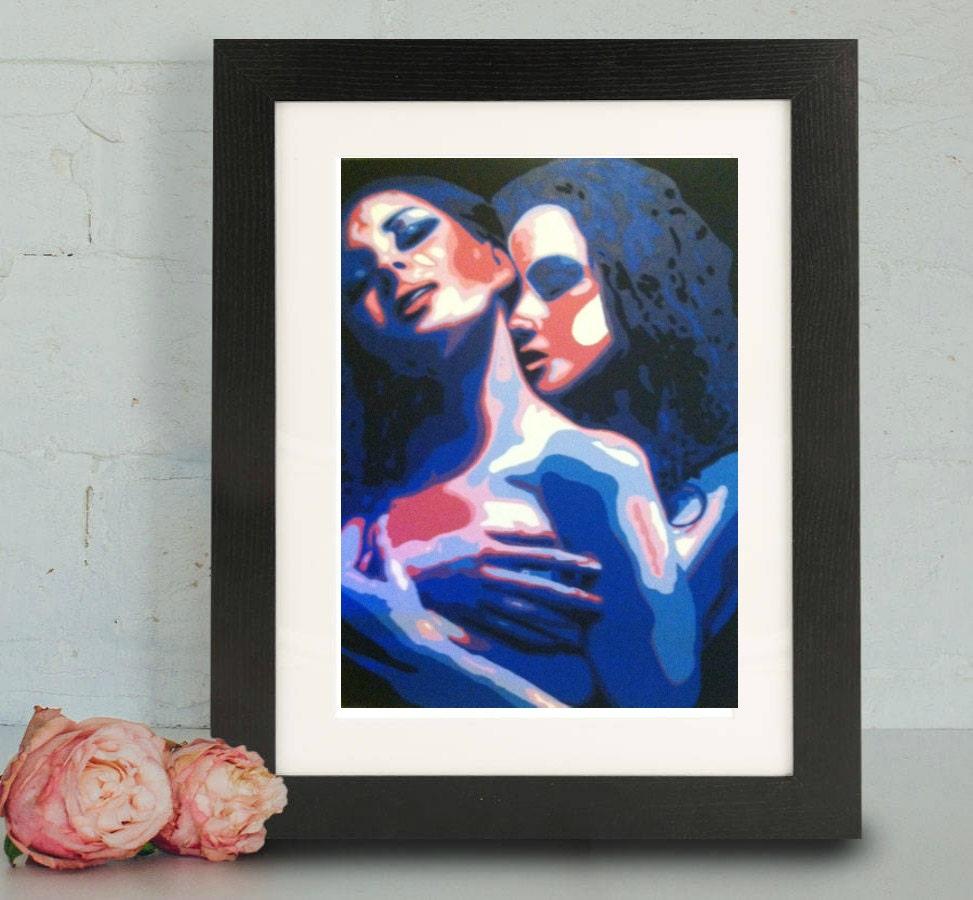 Fine Art Print lesbische lesbische Malerei Frauen weibliche   Etsy