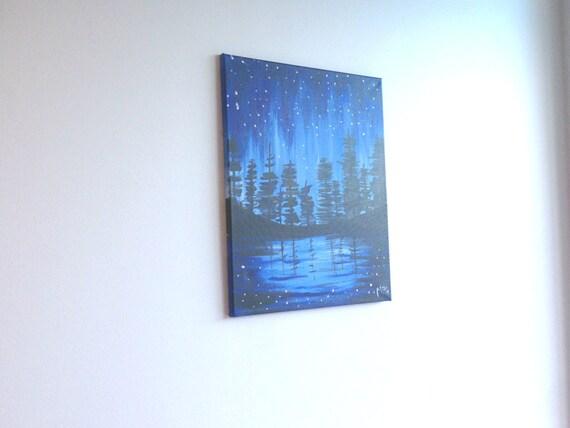 Dipinti Murali E Pittura Ad Ago : Pittura di paesaggio blu dipinto di montagna pino albero etsy
