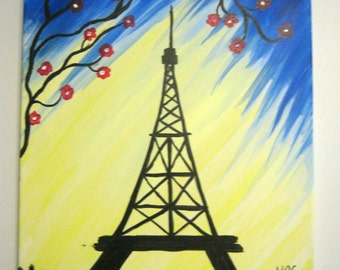 Eiffel Tower Painting, Paris Painting, Paris art, abstract painting, wall art, Eiffel Tower, Home Decor, wall painting, France art